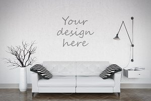 Blank wall mockup living room