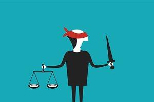 Justice cartoon concept