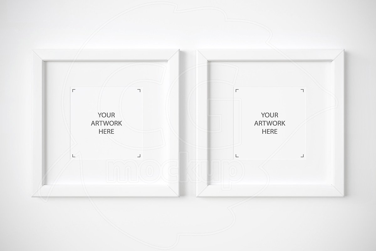 Set of 2 square white frames mockup ~ Product Mockups on ...