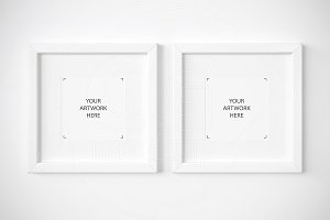 Set of 2 square white frames mockup