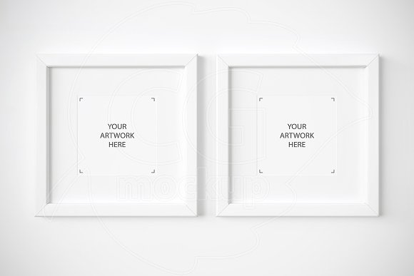 set of 2 square white frames mockup product mockups - White Square Frames
