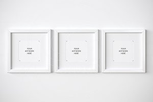 Set of 3 matted frames mockup