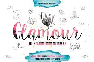 100 Feminine Logos & Watercolor Kit