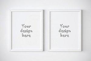 Set of two minimal frames mockup