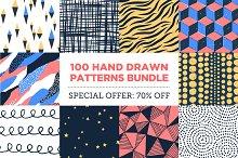 100 Hand Drawn Patterns Bundle