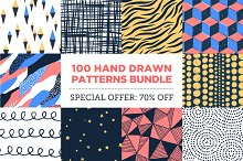 100 Hand Drawn Patterns Bundle