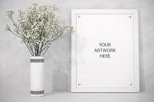 """Vertical white frame 8,5x11"""" mockup"""