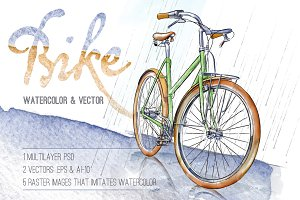 Bike. Watercolor & Vector.