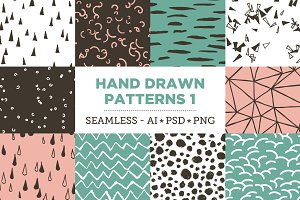 10 Seamless Hand Drawn Patterns v.1
