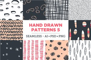 10 Seamless Hand Drawn Patterns v.5