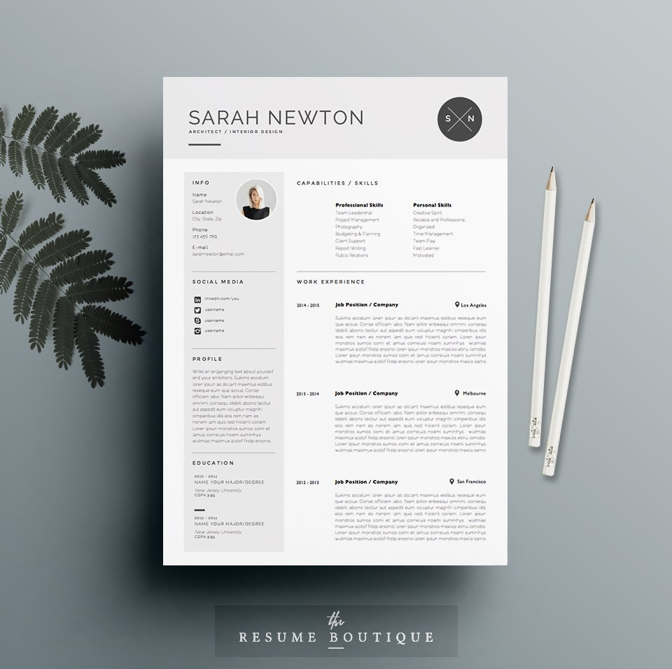 resume template 4 pages moonlight resume templates creative market - Resume Format Design