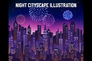 Vector Night Cityscape Background