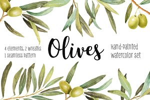 Olives watercolor illustration set