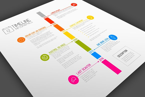 Vector Timeline Template Presentation Templates Creative Market - Timeline graphic template