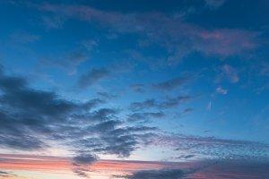 Clouds illuminated by evening sun