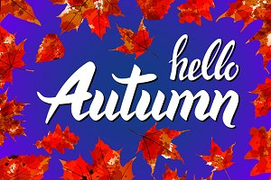 Hello Autumn watercolor leaves
