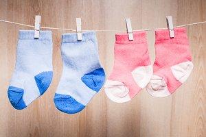 Baby socks on rope