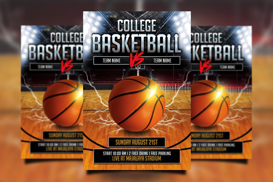 college basketball flyer flyer templates creative market. Black Bedroom Furniture Sets. Home Design Ideas