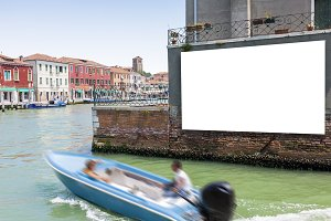 Blank billboard in Venice