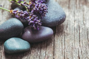 Stones with lavender