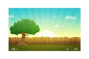 Wooden Fence With Tree