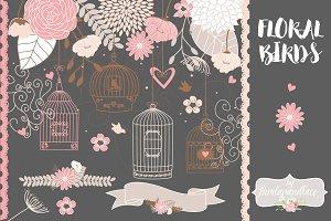 Vector floral bird cage