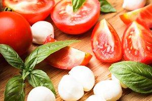 Caprese salad preparing