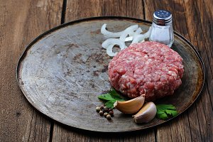 Raw minced meat for cooking burger