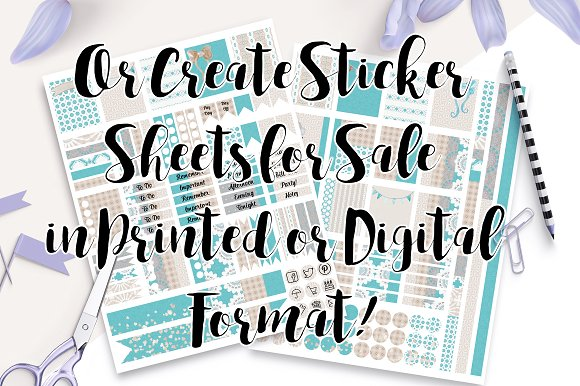 Planner Sticker Templates Photoshop Templates Creative Market - Sticker layout template