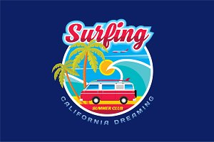 Surfing - Vector Badge for T-Shirt
