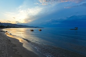 Sunset on beach (Zakynthos, Greece)