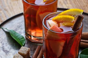 Sangria with oranges and apples