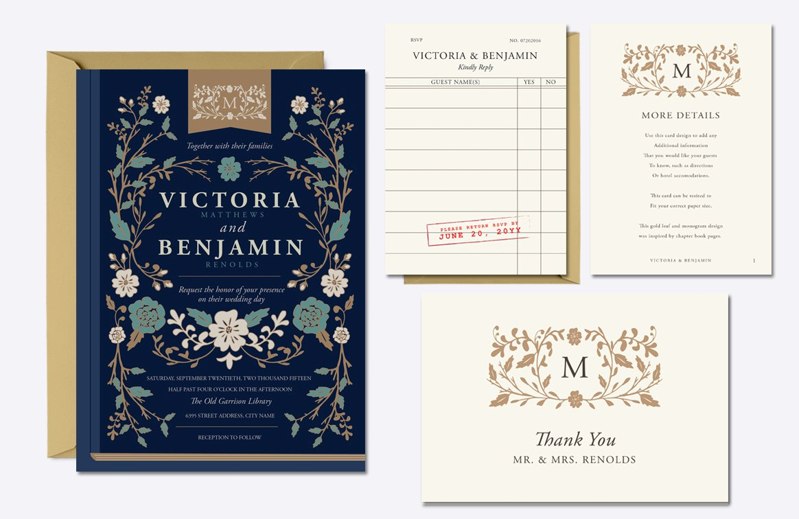 Vintage Library Wedding Suite Invitation Templates Creative Market - Library brochure templates