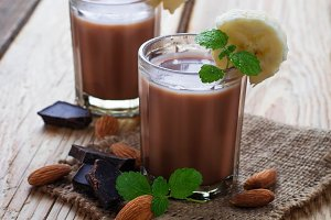 Chocolate smoothie with banana