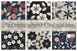 6 Floral patterns & 6 round frames
