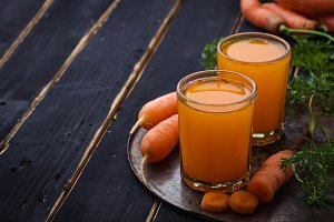 Glasses of carrot juice
