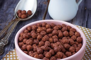 Chocolate cereal balls in bowl