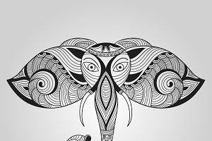 Vector Doodle Elephant