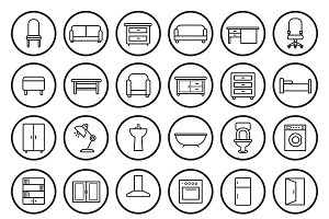 House furniture. 30 icons. Vector