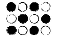 Black ink round frames. Vector