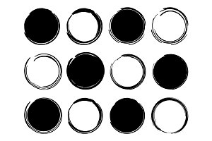 Black ink round frames. Vector