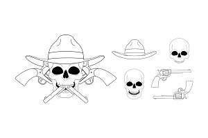 Skull in hat emblem. Vector