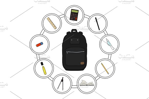 School backpack contents. Vector - Illustrations