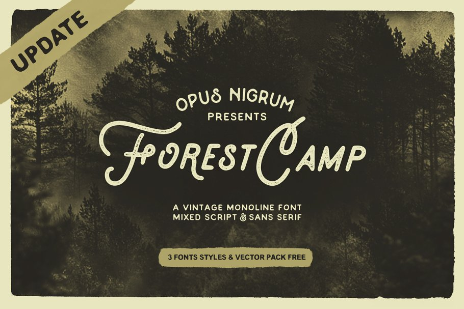 Forest Camp Font + Free Vector Pack ~ Display Fonts