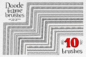 Doodle vector frame brushes