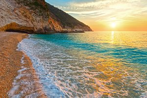 Sunset on Myrtos Beach (Greece)
