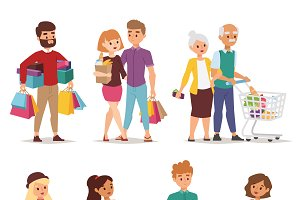Shopping people vector set
