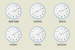 World time zone clocks. Vector