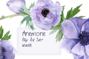 Anemone Watercolor Clip Art + Wreath