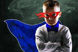 superhero school boy